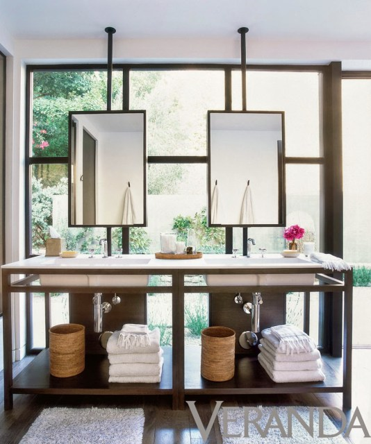 Hanging ceiling mirrors on steel rods