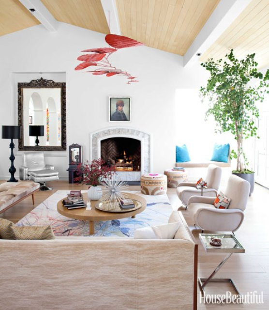 Todd Nickey and Amy Kehoe of Nickey Kehoe's living room in their Malibu home featured in House Beautiful