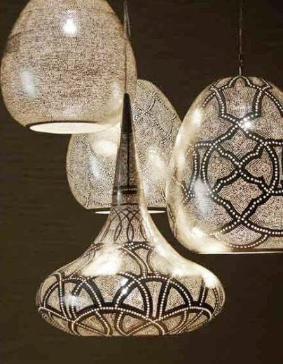 silver punched metal pendant lights from Zenza
