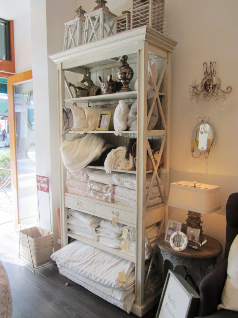 Inside Pom Pom Interiors' store-shelf to store linens and blankets