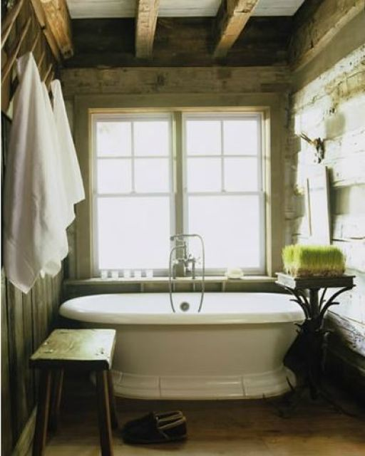 beautiful bathroom with knotty wood paneling