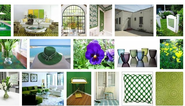 COCOCOZY summer style board with a focus on shades of green