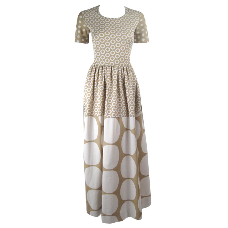 Tan vintage Rudi Gernreich maxi dress with white polka dots