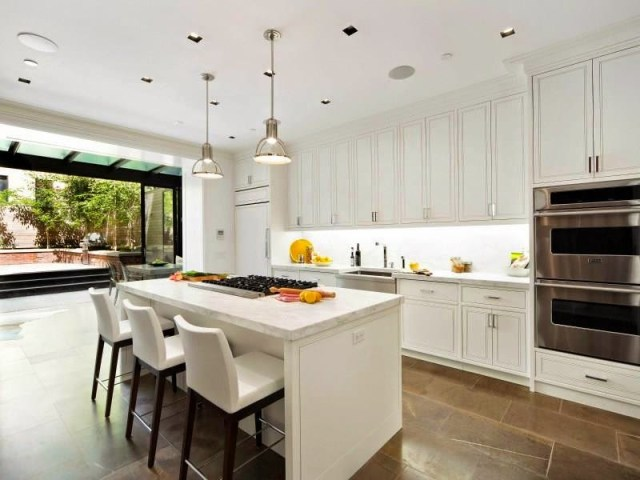 white kitchen new york city upper east side townhouse