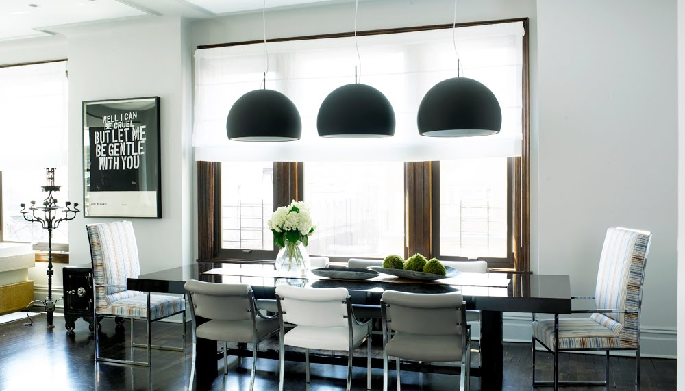 Sleek Modern Kitchen With Three Black Dome Pendant Lights Hung Over A Black Dining  Room Table