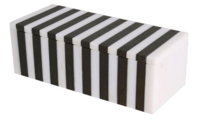 Kelly Wearstler Black & White Striped Marble Box