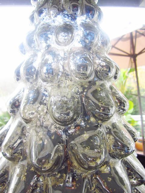 Close up of mercury glass holiday tree