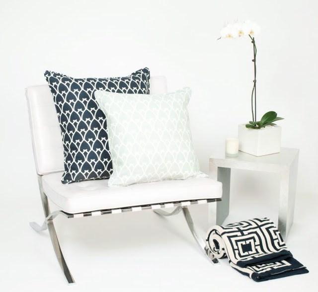 Mies van der Rohe white leather Barcelona chair COCOCOZY arch pillows navy blue seafoam sea foam green modern decor