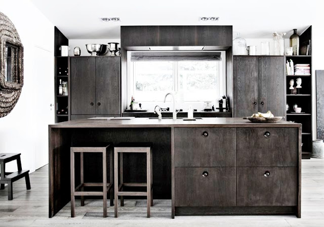 wood kitchen: wood cabinets, stools, island, floors and shelves.