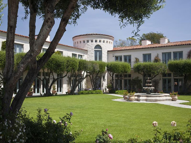 exterior view of a Spanish style mansion in Santa Barbara