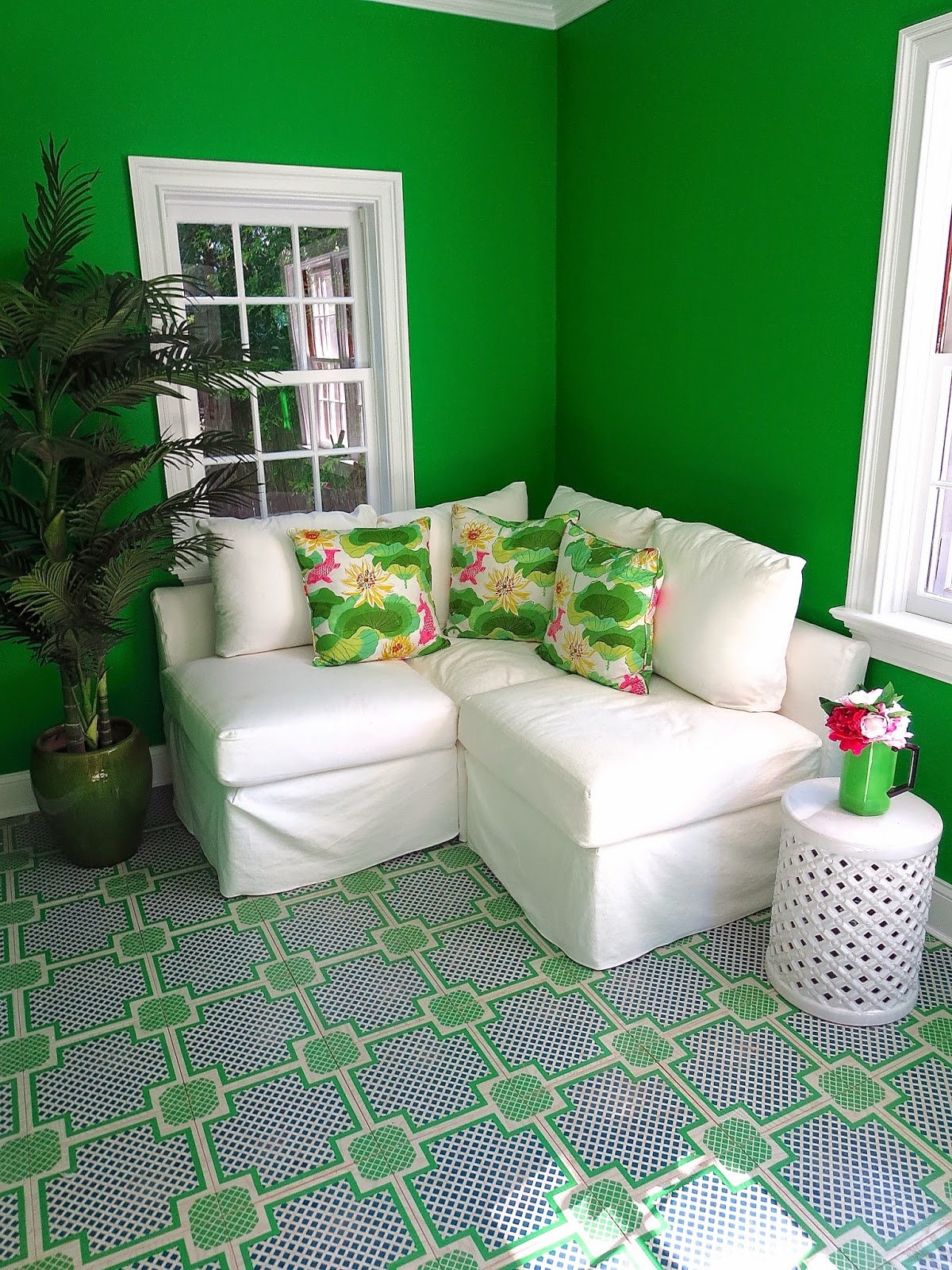 kelly green garden room painted wood tile floors - Living Room East Hampton