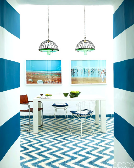 blue white dining room zigzag chevron cement tile floor striped stripe wall morocco home