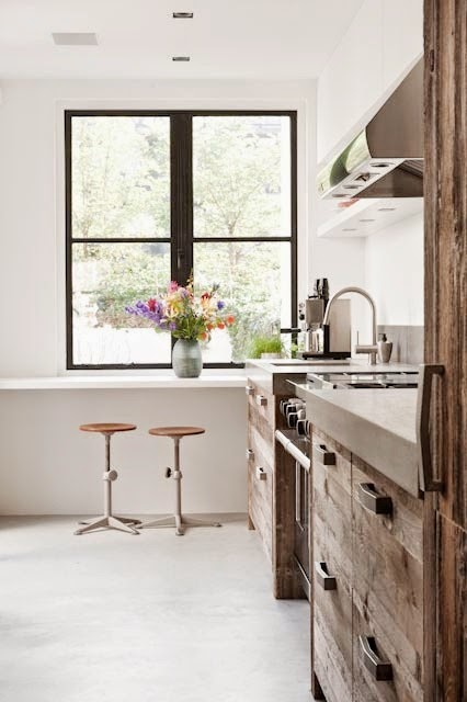 I Have Never Quite Seen Kitchen Cabinets Like These. Reclaimed Wood Fronts  With Modern Lines And Hardware. So Interesting. These Photos Are From A  House In ...