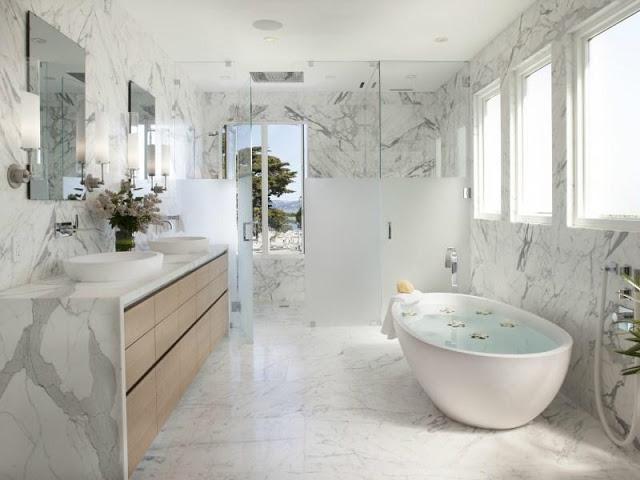 marble bath bathroom tub carrara marble white gray modern decor design decorating