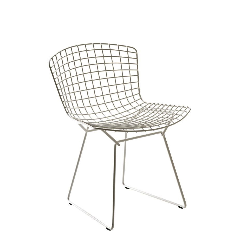 henry bertoia wire side chair white mid century modern black white home office cococozy 5