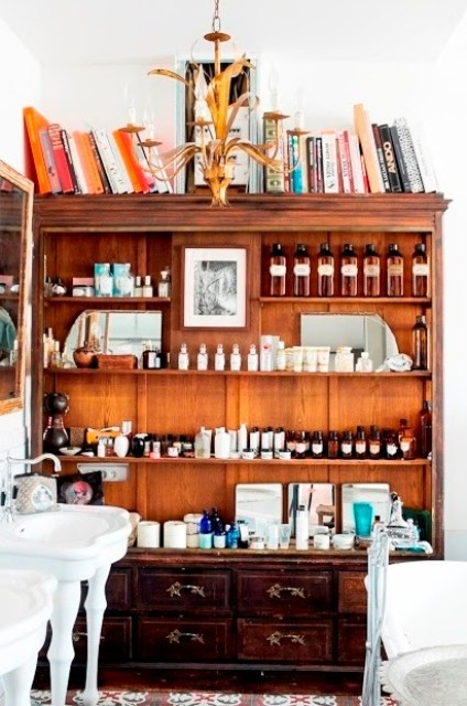 Antique cupboards in a Paris bathroom