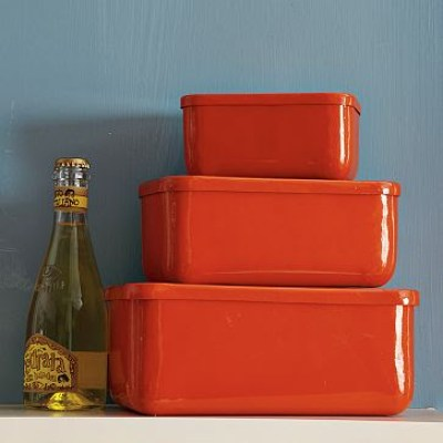Three orange Rectangular Biscuit Tins stacked on top of each other