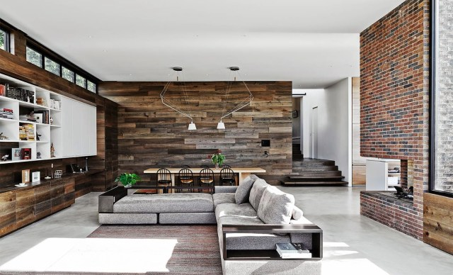 Modern open plan mixed surface living room by Robson Rak Architects