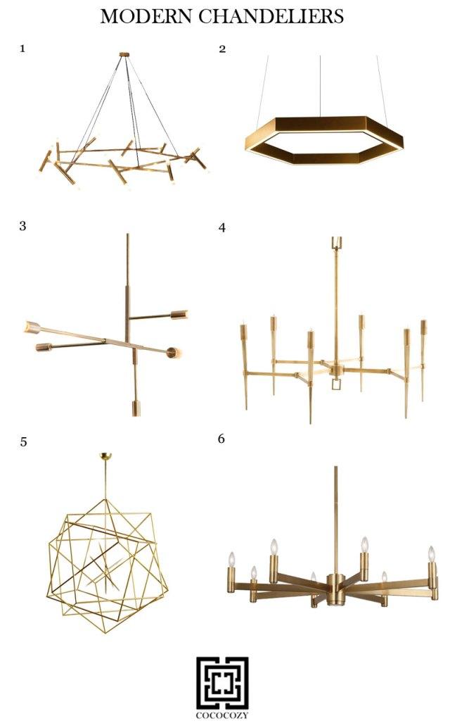 Modern brass chandeliers