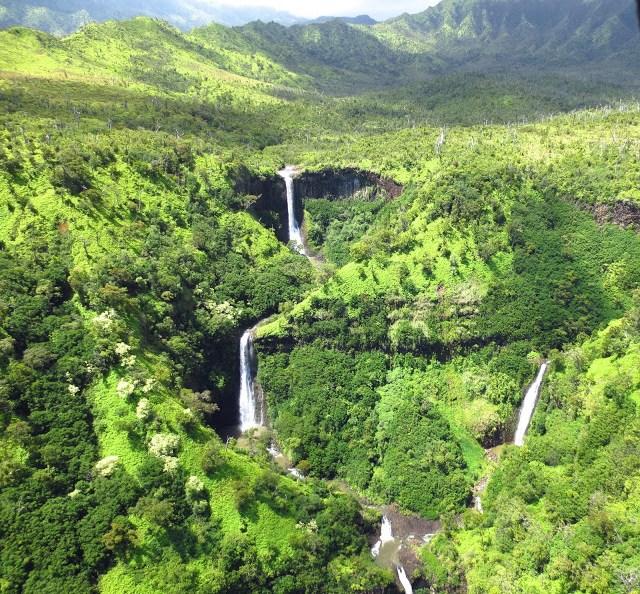waterfalls falls kauai hawaii helicopter aerial view