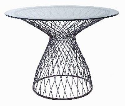 round wire base table with glass top