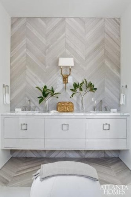 Chevron patterned tile wall