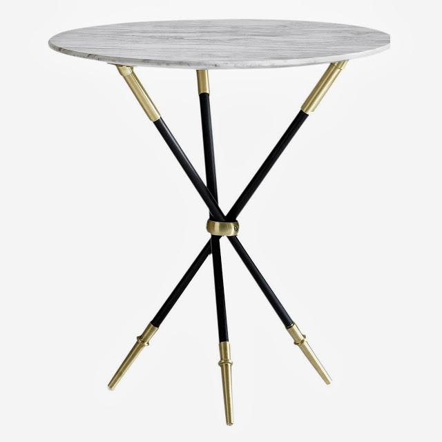 Jonathan Adler Tripod Side Table with brass trim