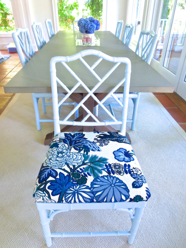 Light blue Chippendale dining chair light blue Chiang Mai Dragon fabric upholstered seat cushion