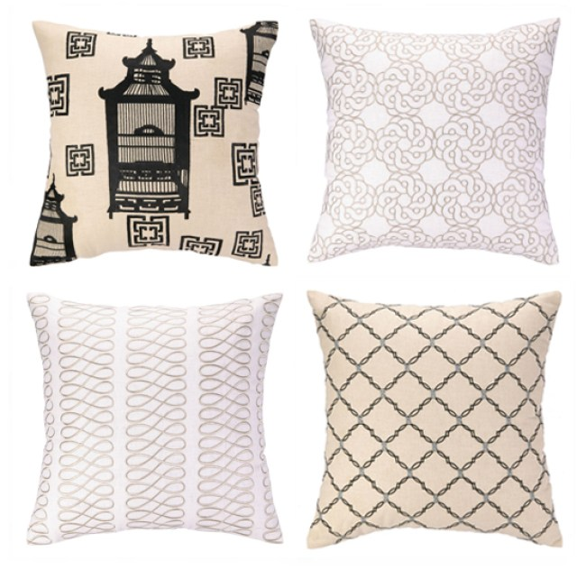 COCOCOZY for Peking Handicraft embroidered pillows taupe black birdcage maroc loop kip