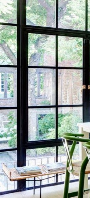 Black framed casement windows and french doors