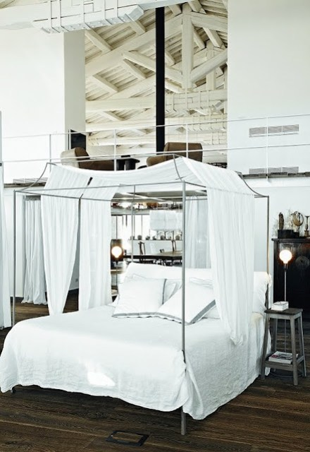 clean and modern canopy bed