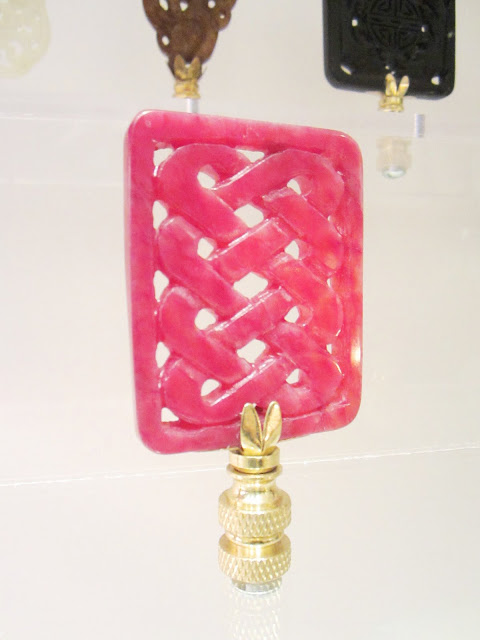 hot pink jade lamp finial