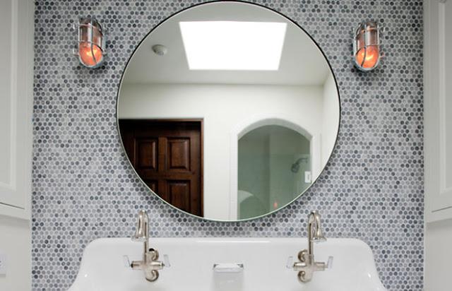 round mirror penny round mosaic tile bathroom bath nautical industrial sconces sink