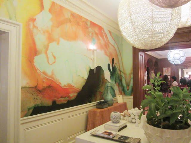Close up of the watercolor wall covering by artist Tracy Hiner of  Black Crow Studios