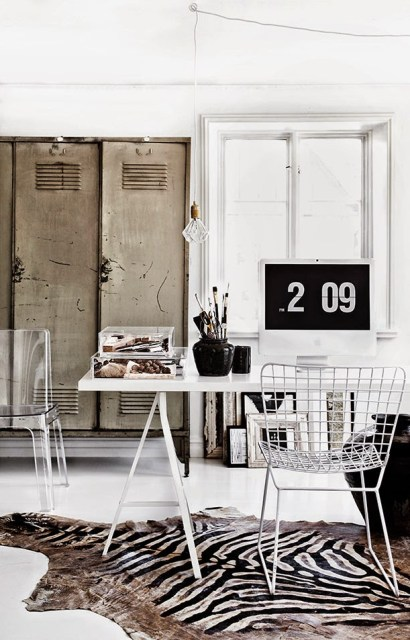 Home office with metal lockers in Jenny Hjalmarsson Boldsen's home