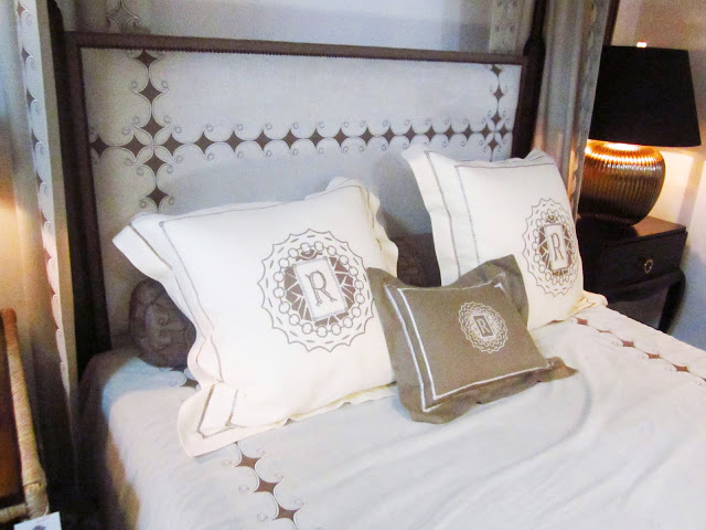 Close up of the monogramed pillows