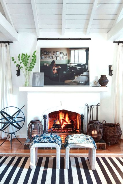 Fireplace in a blue and white living room