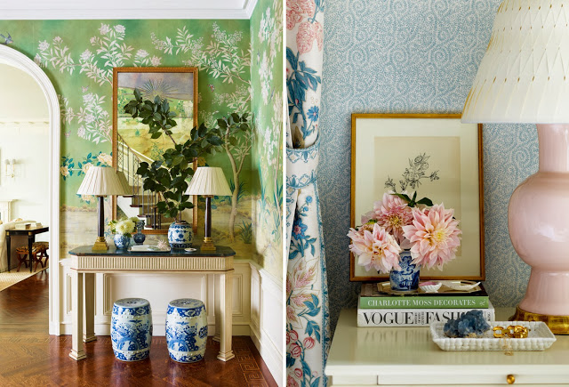 Ashley Whittaker mixes florals in her design of a Park Avenue apartment foyer and nighstand