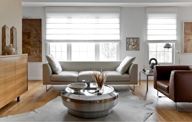 Sheer white roman shades window coverings