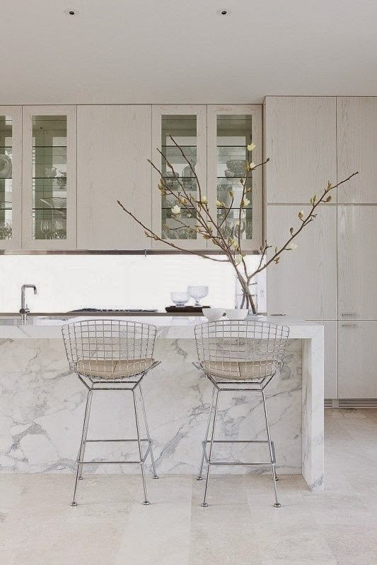 kitchen island with marble waterfall countertop - Waterfall Kitchen Island