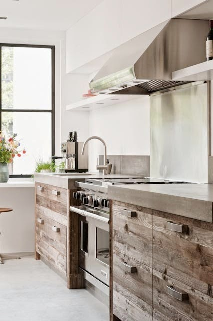 Modern country kitchen reclaimed wood cabinets cococozy for Modern country kitchen cabinets