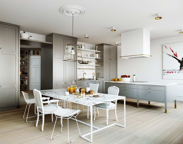 eat in kitchen dining table chairs louis xvi bertoia french reproductions modern cabinetry gray white