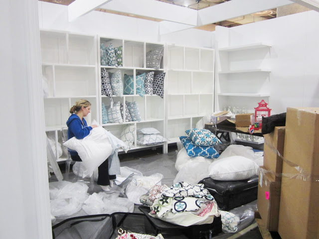 KS stuffing pillows for the COCOCOZY booth at the New York International Gift Fair