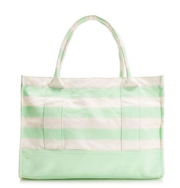 Tote bag in mint and cream stripe