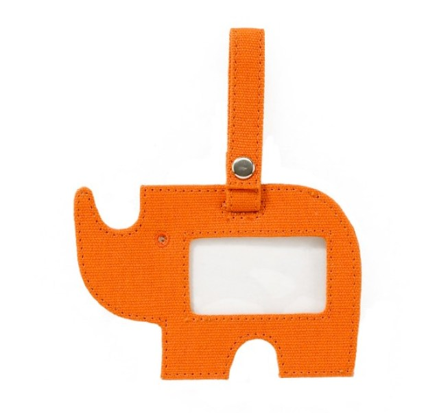 Orange rhinoceros shaped luggage or bag tag