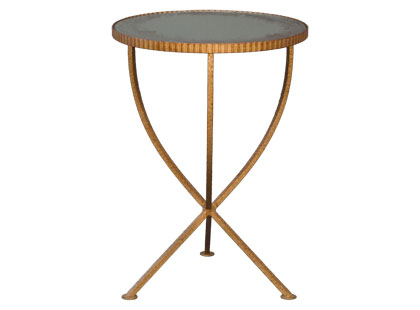 Side table with an iron base and antique gold finish and antique mirror top from Jayson Home & Garden