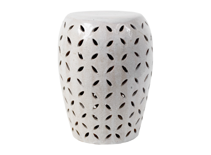 Ceramic garden stool with crackle greige off white finish and lattice cut out design from Jayson Home & Garden