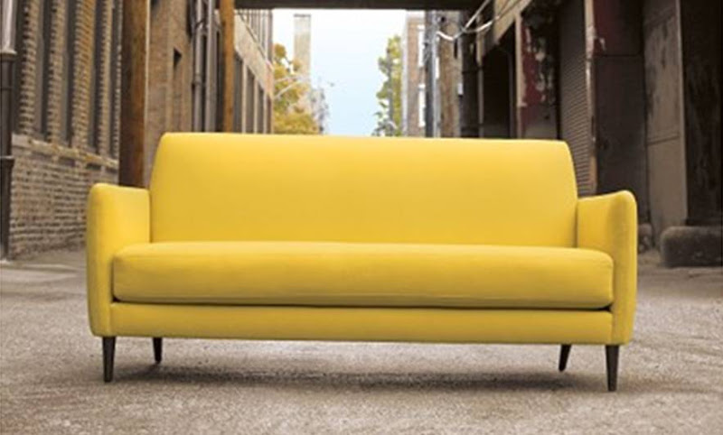 Lemongrass yellow mid-century Danish modern style sofa from cb2