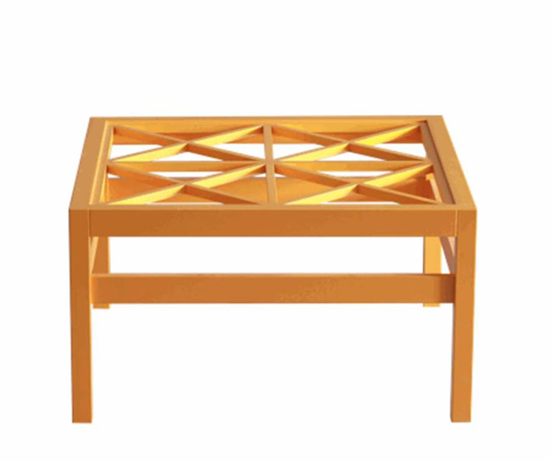 Yellow coffee table with lattice design and clear glass top from Oomph