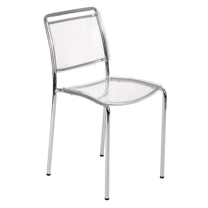 Captivating Acrylic Side Chair With Chrome Tube Legs From Z Gallerie